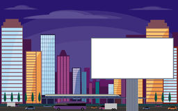Billboard and night city Royalty Free Stock Photography