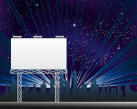 Billboard In The Night Clity. Vector illustration of straight blank billboard on the night city Stock Images