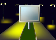 Billboard and night highway Royalty Free Stock Images