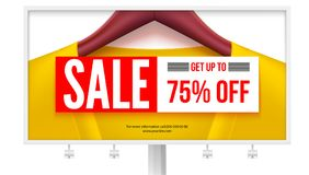 Billboard with offer of sale. Get up to 75 percent off discount.   Stock Photo