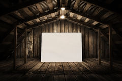 Billboard in old wooden room Stock Image