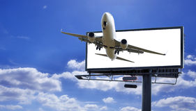 Billboard with plane stock image