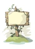 Billboard with plant. Illustration of wood billboard with plant Royalty Free Stock Photo