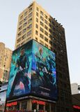 Billboard promoting new Aquaman superhero film based on the DC Comics character of the same name, distributed by Warner Bros. NEW YORK - DECEMBER 6, 2018 stock photos