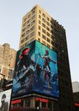 Billboard promoting new Aquaman superhero film based on the DC Comics character of the same name, distributed by Warner Bros. NEW YORK - DECEMBER 6, 2018 stock image