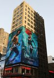 Billboard promoting new Aquaman superhero film based on the DC Comics character of the same name, distributed by Warner Bros. NEW YORK - DECEMBER 6, 2018 stock images