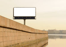 Billboard on quay. Billboard on quay of Neva, St.-Petersburg, Russia Stock Photos