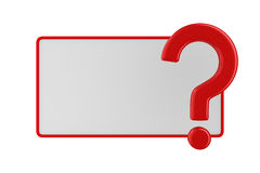 Billboard with question on white. Isolated 3D image Royalty Free Stock Images