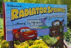 Billboard Radiator Springs California Adventure Disneyland. Lighting McQueen and Sir Tow Mater are featured on the billboard sign in Walt Disney`s California Stock Images