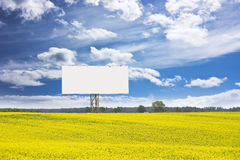 Billboard in rapeseed field Royalty Free Stock Photos