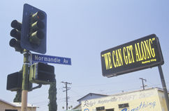 Billboard reading �We can get along�, South Central Los Angeles, California Stock Photography
