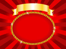 Billboard red and gold. Royal red and gold round billboard or placard with gold ribbon and sunburst, ready for an announcement or card Stock Photography