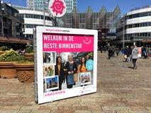 Billboard reklamuje Holenderskiego miasto Almere zdjęcie royalty free