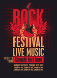 Billboard Rock Festival. With an electric guitar with wings Royalty Free Stock Image