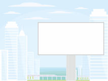 Billboard and seaside city Stock Images