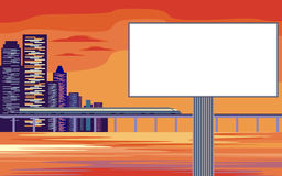 Billboard and seaside city Stock Photos