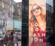 Billboard on a shop window celebrating London Fashion Royalty Free Stock Image