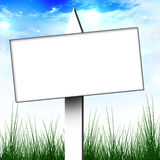Billboard sign. White billboard sign on a clear sky background Stock Photos