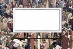 Billboard Sign against New York Ciy Background Stock Photo
