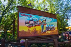 Cars Land Signage California Adventure Disneyland. Billboard sign greets visitors in Radiator Springs Cars Land. The Disney California Adventure amusement park Royalty Free Stock Image