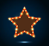 Billboard star sign on the on blue background Stock Photos
