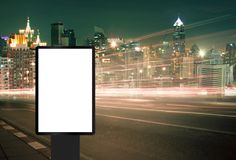 Billboard, banner empty. Billboard street on light trails for outdoor advertising poster or blank billboard at night time for advertisement. street light.- can royalty free stock photography