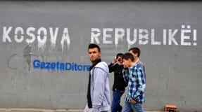 The billboard on the street Prishtina. The Republic of Kosovo declared independence on 17 February 2008 Stock Photos