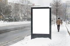 Billboard on street in winter stock photo