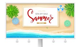 Billboard with summer beach seashore. Poster for touristic sale events, travel agency discount actions. Tropical. Landscape, ocean, gold sand, sun umbrella vector illustration