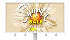 Billboard with summer sale banner with handwritten text. Get up to fifty percent discount. Brush pen lettering and open. Flower Bud close-up. Template for Royalty Free Stock Photography
