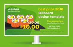 Billboard template banner. Modern sushi design template for outdoor advertising, posting photos and text. Green billboard graphic. Vector illustration stock illustration