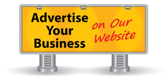 Billboard with text and spotlights Royalty Free Stock Image