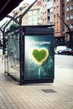 Billboard travel honeymoon  advertising on bus stop. Travel honeymoon advertising billboard on bus station Royalty Free Stock Images
