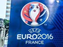 Billboard of 2016 UEFA Euro France. Bangkok, Thailand - June 9, 2016: Billboard of 2016 UEFA Euro France was showed in front of Meleenont Tower in Thailand stock images