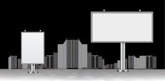 Billboard with urban horizon Royalty Free Stock Photography