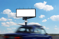 Billboard and vehicle speed on Stock Photography