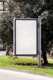 Billboard w ulicznym mieście, zielonych roślinach, selekcyjnej ostrości i zbliżeniu, Pusty reklamowego billboardu pokaz Fotografia Royalty Free