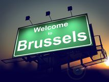 Billboard Welcome to Brussels at Sunrise. Royalty Free Stock Photos
