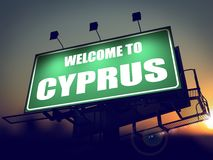 Billboard Welcome to Cyprus at Sunrise. Royalty Free Stock Images