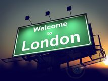 Billboard Welcome to London at Sunrise. Royalty Free Stock Photos