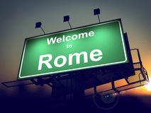 Billboard Welcome to Rome at Sunrise. Royalty Free Stock Photos
