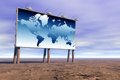Billboard with world map. Large billboard with image of a world map Royalty Free Stock Photography