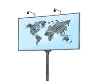 Billboard with world map Stock Photos