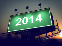 Billboard of 2014 Year on the Sunrise Background. Royalty Free Stock Photography