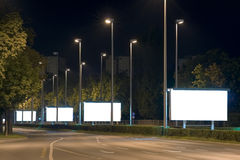 Billboards. Empty billboards in the highway at night royalty free stock photography