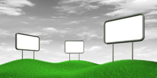 Billboards on b&w sky. Billboards on b&w sky. High resolution 3d render Royalty Free Stock Photography