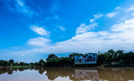 Billboards of the King and Queen of Thailand. Ping River and the Stock Photo