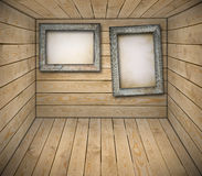 Billboards in wooden interior Stock Photo
