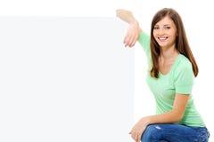 billboardu żeński szczęśliwy osoby biel obrazy stock