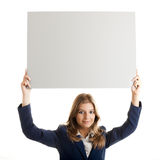 billboardu biznesowa mienia kobieta Zdjęcia Stock